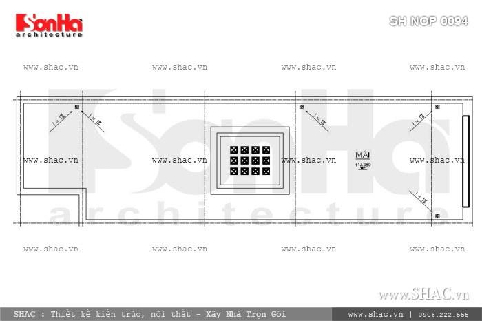 Bố trí công năng tầng mái của nhà phố 60m2 sh nop 0094