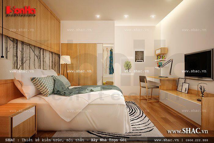 Phương án thiết kế mẫu phòng ngủ biệt thự kiểu hiện đại đẹp và vô cùng tinh tế với đồ nội thất gỗ làm