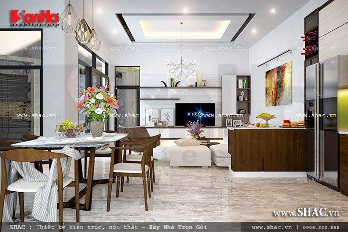 Bố trí phòng bếp ăn liền kề với phòng khách của mẫu biệt thự hiện đại 3 tầng tại Hải Phòng có diện tích khiêm tốn