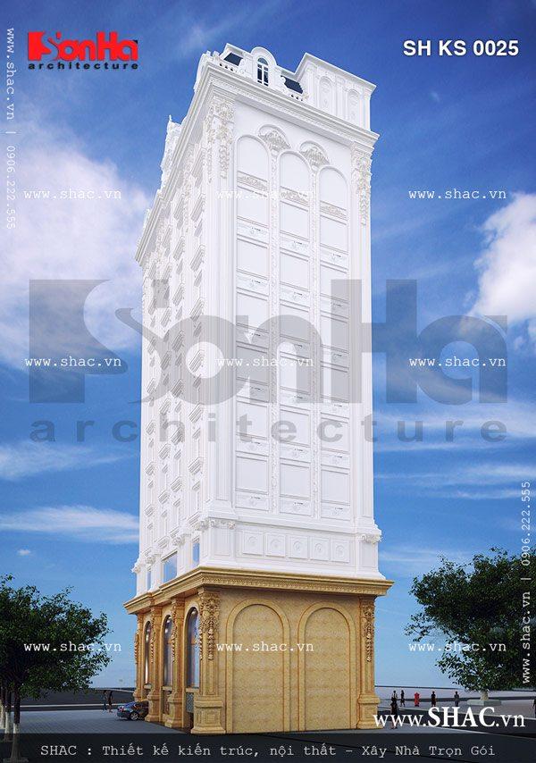 Mặt sau của tòa nhà căn hộ cho thuê kiến trúc pháp sh ks 0025