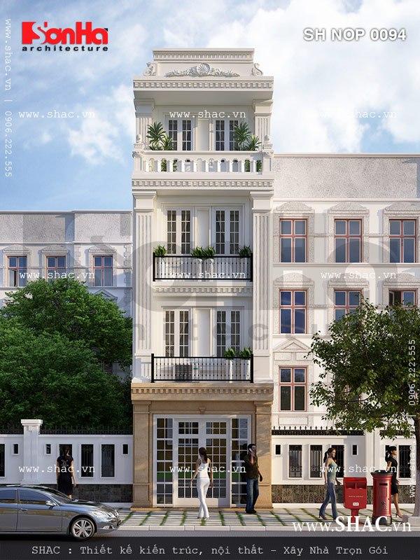 Mặt tiền nhà phố 4 tầng kiểu Pháp nhạ nhàng và thanh nhã với các yếu tố cách tân đẹp
