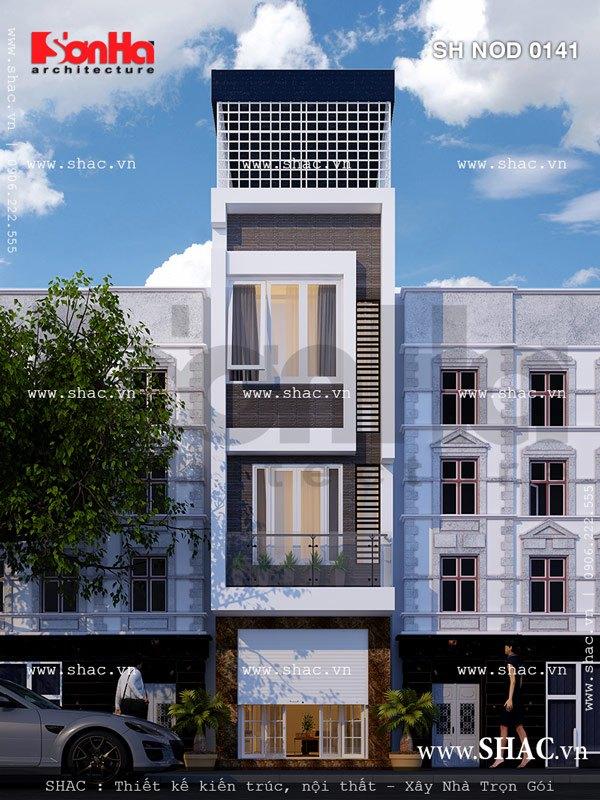 Mẫu kiến trúc mặt tiền nhà ống kiến trúc hiện đại đẹp mắt với các đường nét ấn tượng