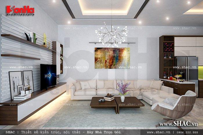 Mẫu thiết kế nội thất phòng khách đơn giản nhưng vẫn thể hiện sự tinh tế, lịch thiệp của biệt thự hiện đại 3 tầng