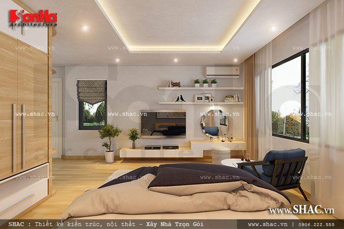 Phòng ngủ đẹp của biệt thự hiện đại đươc thiết kế nội thất ấn tượng với view đẹp mắt và vô cùng thoáng đãng