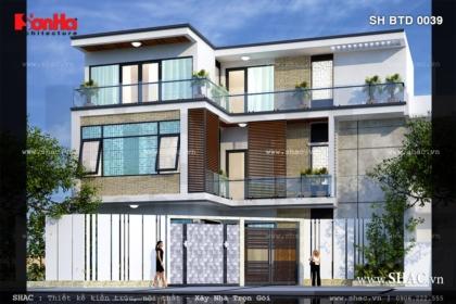 Thiết kế biệt thự đẹp trên đất chéo sh btd 0039