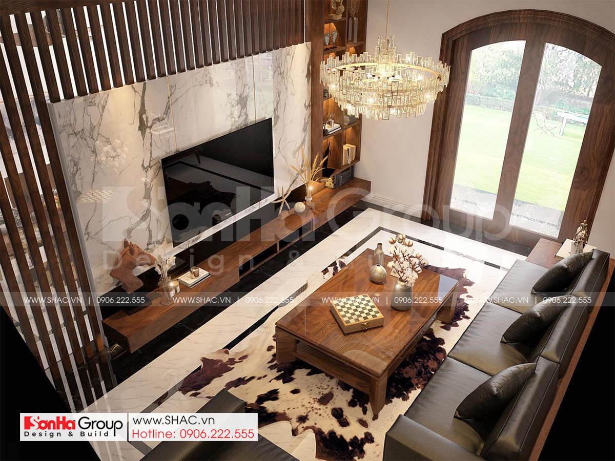 Nội thất phòng khách sang trọng và quý phái trong thiết kế nhà phố Vinhomes Marina