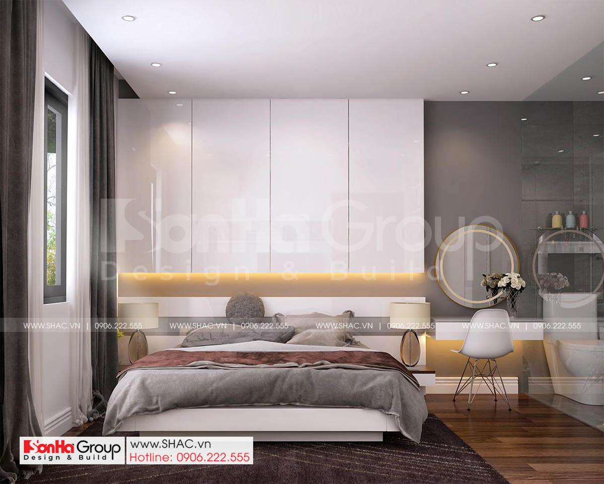 Thiết kế phòng ngủ hiện đại tinh tế trong thiết kế nhà ống mặ t bằng 7m