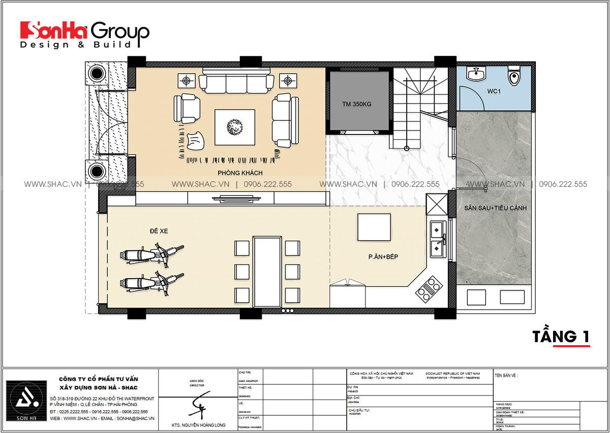 Công năng sử dụng tầng 1 nhà phố hiện đại 4 tầng tại Hải Phòng