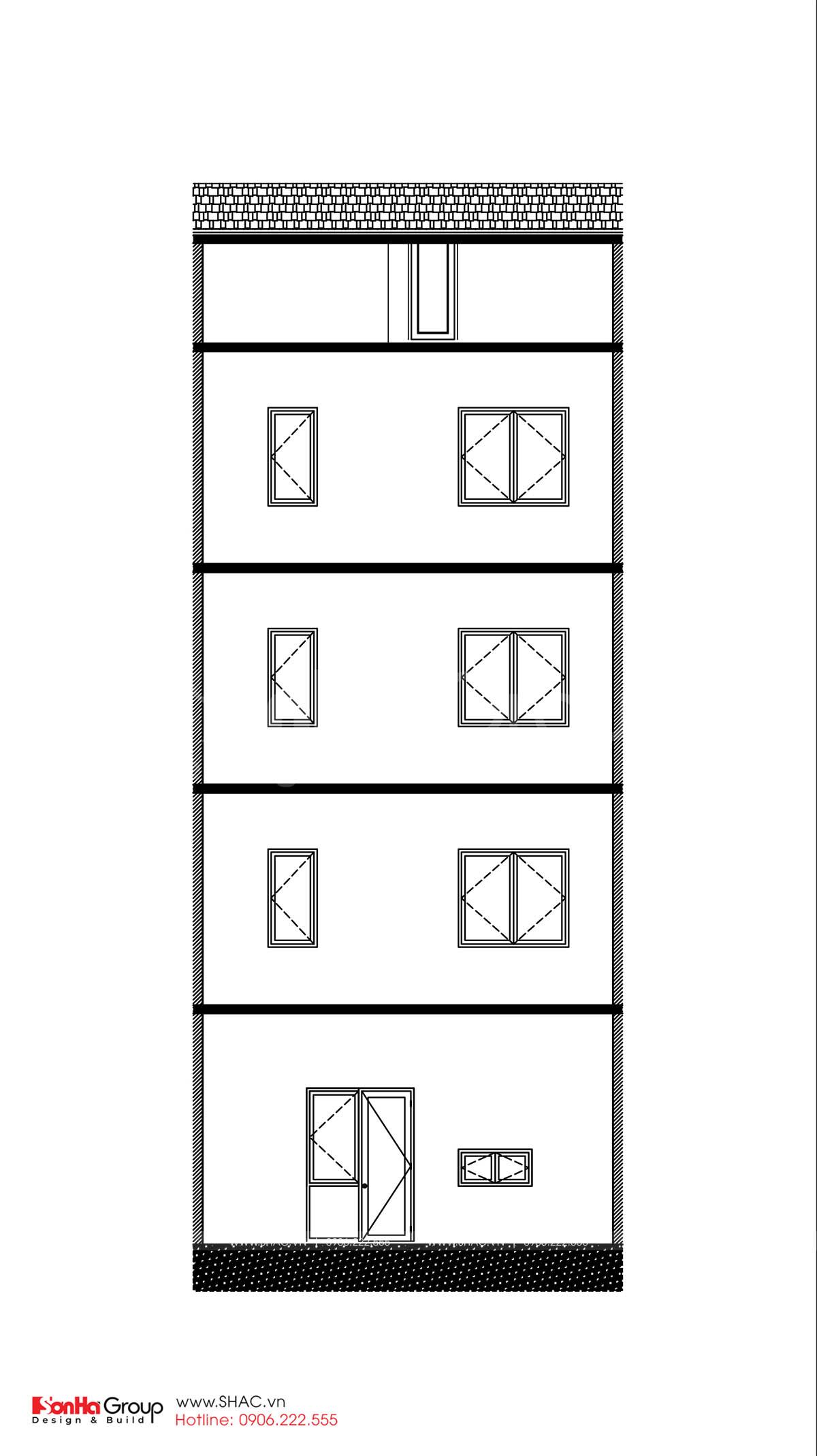 Bản vẽ mặt cắt ngang thiết kế nhà phố hiện đại tại Hải Phòng