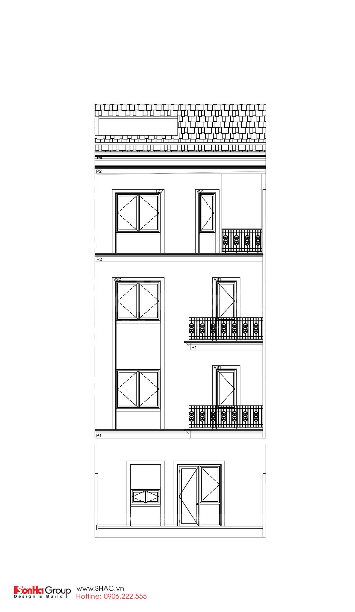 Mặt đứng trục thiết kế nhà phố sang trọng tại Hải Phòng
