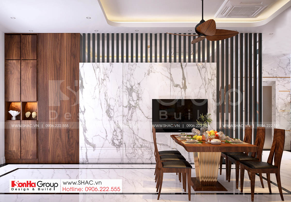 Phòng ăn tinh tế trong thiết kế nhà phố mặt tiền 7m tại Vinhomes Hải Phòng