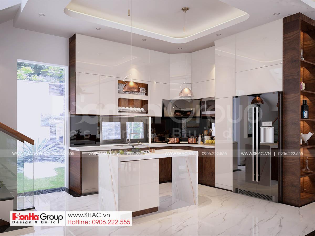 Toàn bộ phòng bếp toát lên sự sang trọng và đẳng cấp của căn nhà phố 4 tầng 1 tum