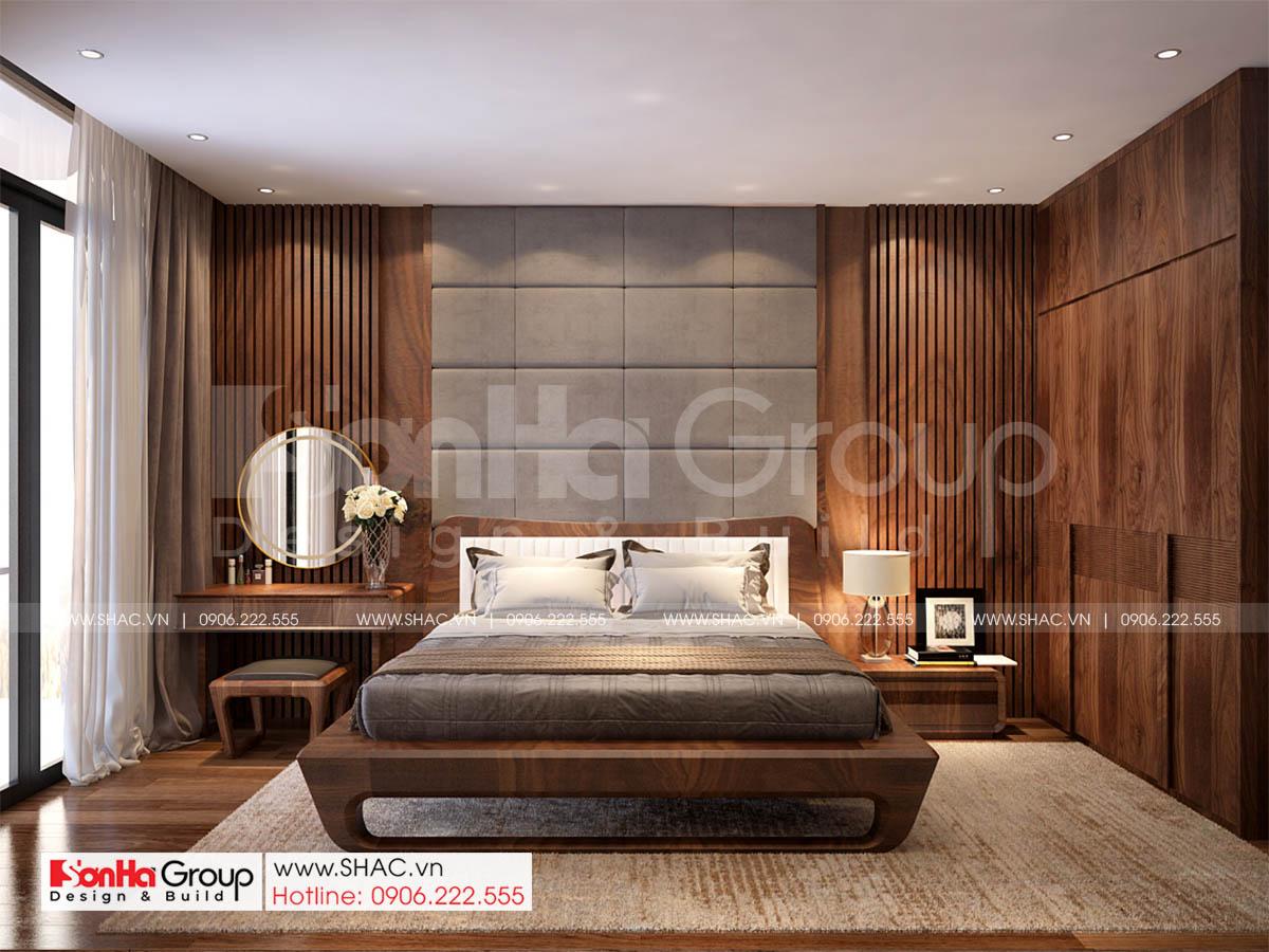 Phòng ngủ master trong thiết kế nhà ống hiện đại tại Vinhomes Marina