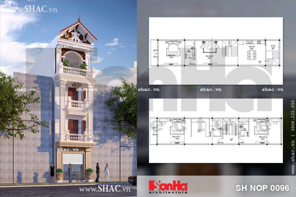Kiến trúc và bản vẽ mặt bằng công năng của mãu nhà ống kiểu Pháp 5m mặt tiền đẹp