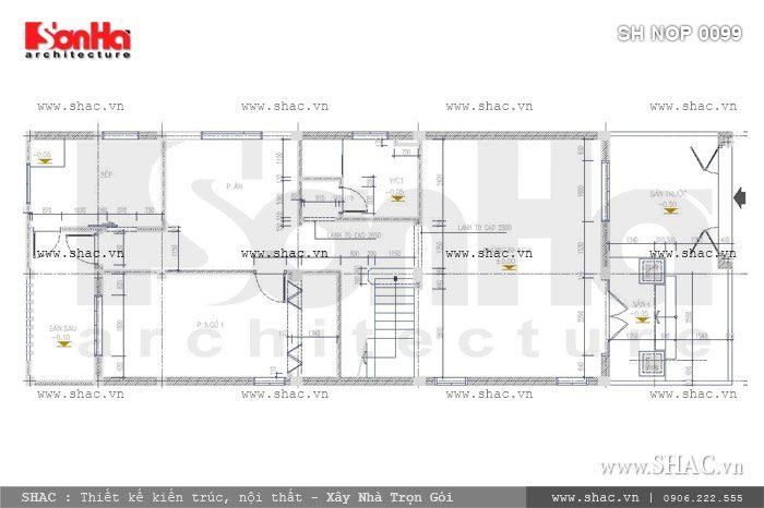 Bản vẽ mặt bằng tầng 1 của ngôi nhà sh nop 0099