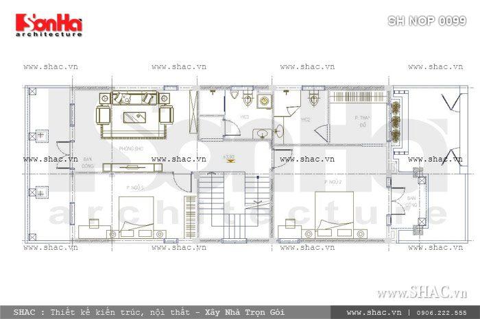 Bản vẽ mặt bằng tầng 2 của ngôi nhà sh nop 0099
