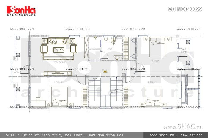 Bản vẽ mặt bằng tầng 3 của ngôi nhà sh nop 0099