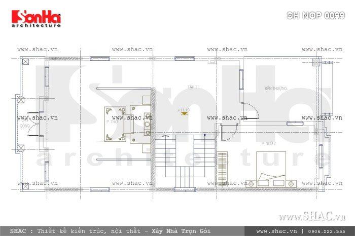 Bản vẽ mặt bằng tầng 4 của ngôi nhà sh nop 0099