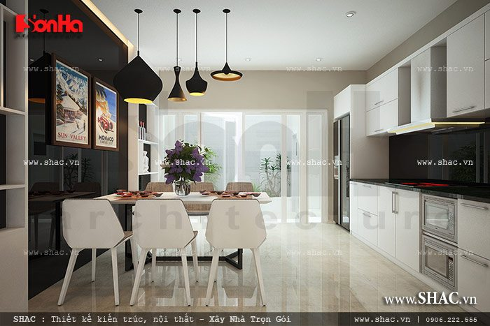 Không gian phòng bếp sang trọng được thiết kế nội thất khoa học kết hợp với gam màu trắng tinh tế mang đến vẻ tinh tế, đầy cá tính