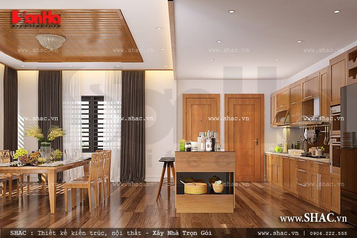 Không gian bếp ăn của ngôi biệt thự hiện đại được thiết kế nội thất gỗ ấn tượng