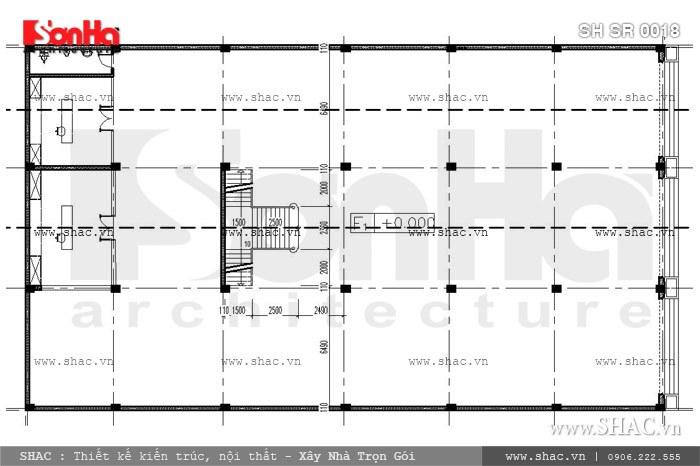 Mặt bằng tầng 1 của showroom sh sr 0018