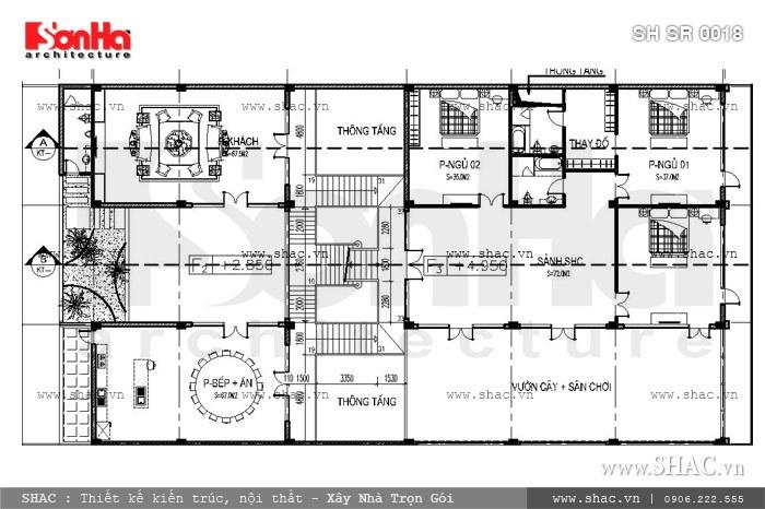 Mặt bằng tầng 2 của showroom sh sr 0018