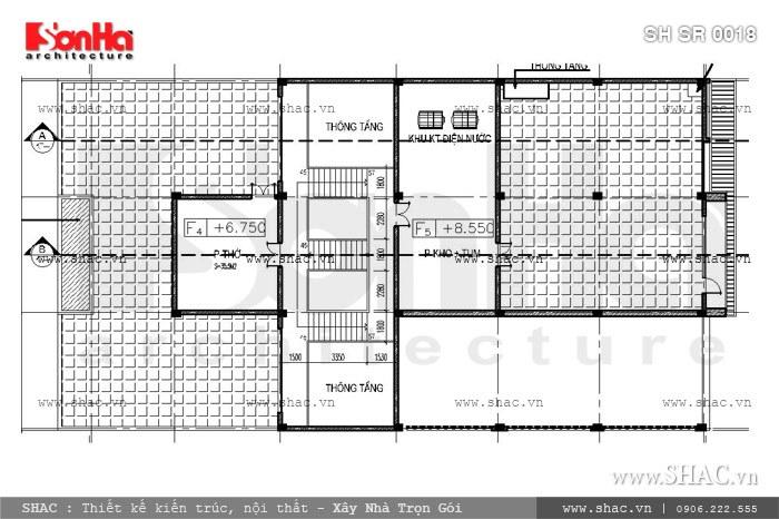 Mặt bằng tầng 3 của showroom sh sr 0018