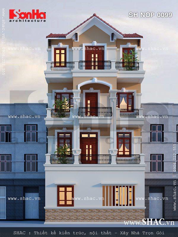 Mặt sau của ngôi nhà phố được thiết kế đẹp sh nop 0099
