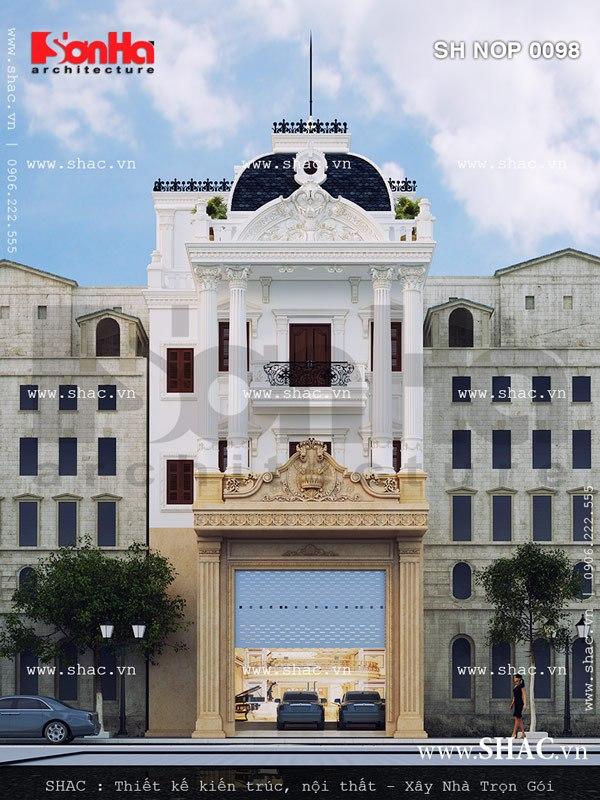 Mặt tiền nhà ống đẹp kiến trúc cổ điển Pháp sang trọng với bố trí mạch lạc và ấn tượng