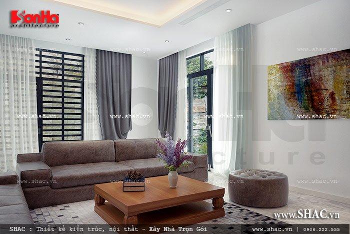 Mẫu thiết kế phòng khách biệt thự hiện đại đẹp, sang trọng tại Hà Nội