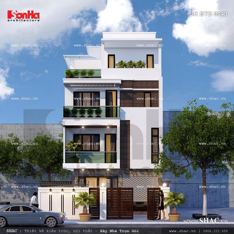 Ngôi biệt thự cao 4 tầng hiện đại sh btd 0040