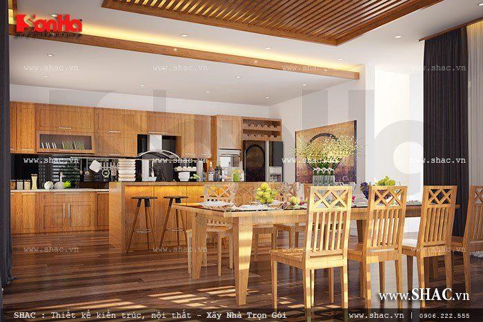 Lựa chọn chất liệu gỗ để thiết kế nội thất phòng bếp ăn là giải pháp vô cùng lý tưởng mang tới không gian ẩm thực như ý muốn cho ngôi biệt thự