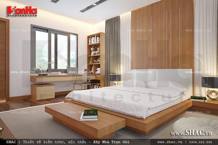 Thêm một phương án thiết kế nội thất phòng ngủ sử dụng chất liệu gỗ cho giường và các vật dụng trong căn phòng được sắp xếp một cách khoa học mang đến không gian thoáng mát
