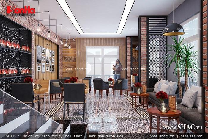 Tầng 2 phương án thiết kế quán cafe mộc mạc sh bck 0037