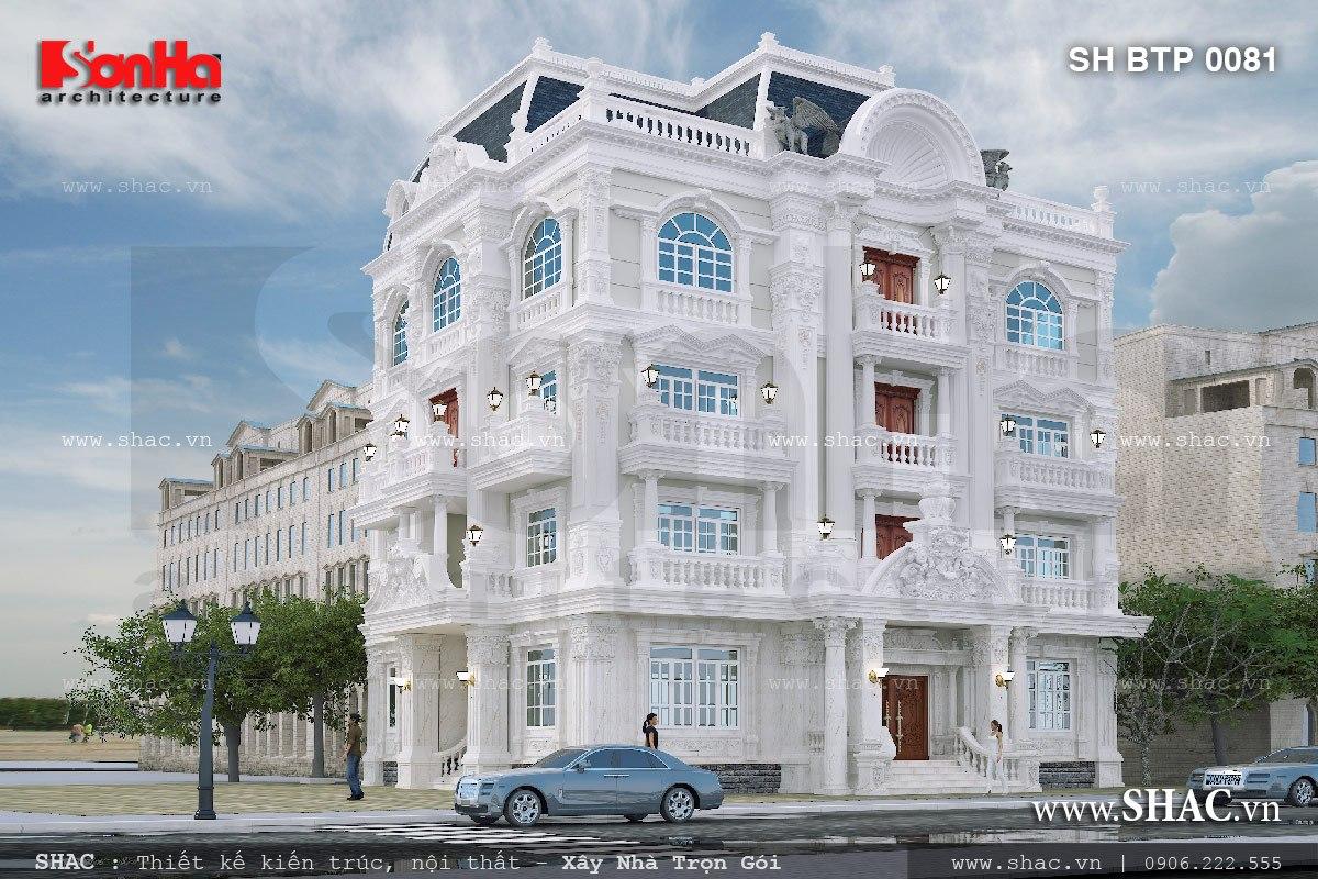 Biệt thự trắng 4 tầng kiến trúc pháp cổ điển sh btp 0081