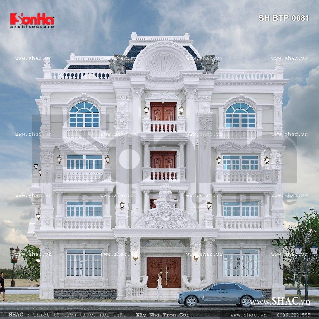 Kiến trúc mặt tiền đậm chất cổ điển mãn nhãn của mẫu biệt thự 4 tầng kiểu Pháp tại TP. Hồ Chí Minh đã hoàn toàn thuyết phục chủ đầu tư