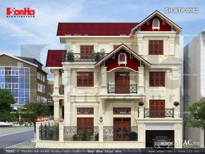 Mẫu biệt thự 3 tầng mái ngói đỏ diện tích 70m2 điển hình thiết kế biệt thự triệu đô kiểu Pháp tại Ninh Thuận đã hoàn toàn chinh phục mọi ánh nhìn người qua đường