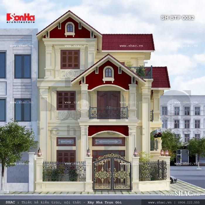Thêm một góc view ấn tượng khác của ngôi biệt thự 3 tầng phong cách cổ điển có thiết kế cổng sắt được trang trí hoa văn tinh tế