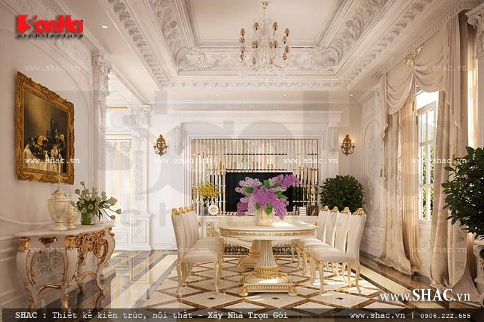 Thiết kế nội thất phòng ăn sang trọng nổi bật với bộ bàn ăn có tạo hình đẳng cấp tinh tế