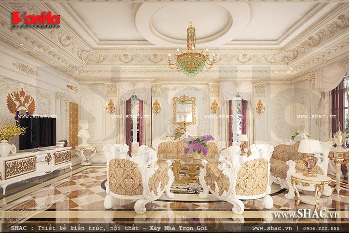 Không gian phòng khách đậm chất cổ điển vương giả của ngôi biệt thự kiểu Pháp chinh phục mọi ánh nhìn