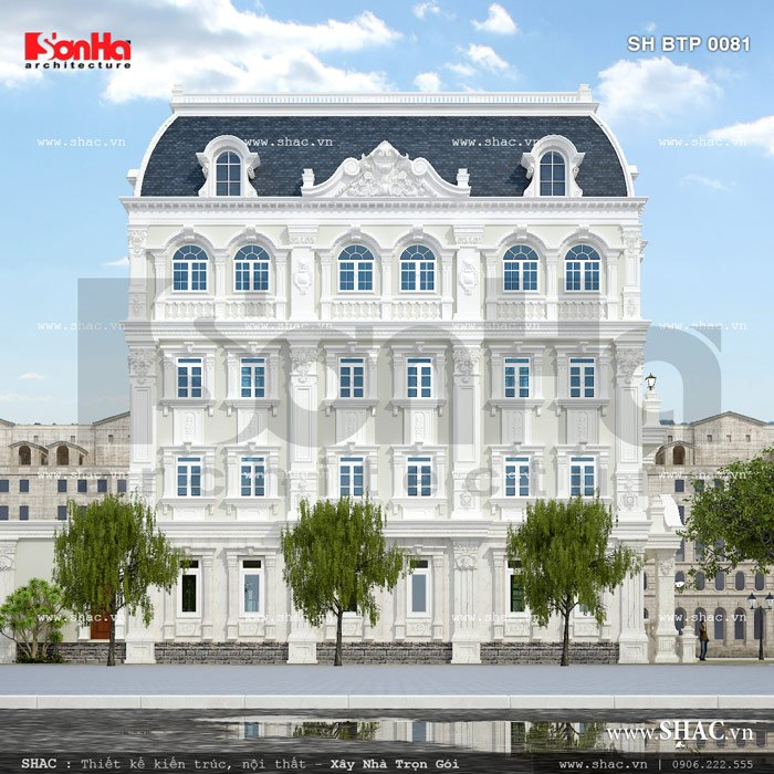 Thiết kế biệt thự 4 tầng phong cách Pháp được tạo hình với những hình khối vững chãi chắc chắn mang vẻ đẹp bền vững với thời gian