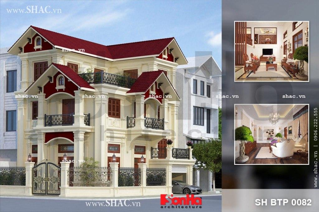 Mẫu thiết kế biệt thự 3 tầng mái ngói đỏ diện tích 70m2 tại Quảng Ninh có kiến trúc sang trọng ấn tượng