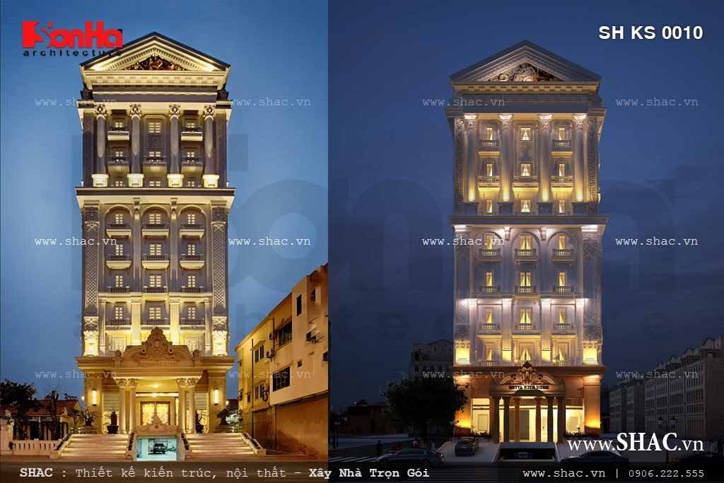 Phối cảnh ban đêm của khách sạn 4 sao sh ks 0010