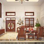 Phòng khách sử dụng nội thất gỗ đồng kị sh btp 0082