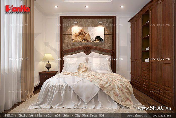 Phương án thiết kế phòng ngủ nhỏ của biệt thự có mành rèm che nắng và cân gió cân sáng hợp lý