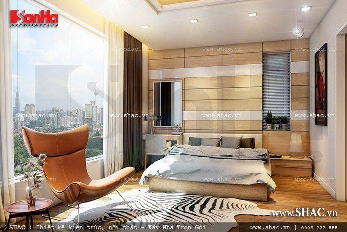 Vật liệu kính cường lực được ưu tiên lựa chọn trong phương án thiết kế nội thất phòng ngủ của biệt thự hiện đại vô cùng trẻ trung đồng thời tạo cảm giác thông thoáng