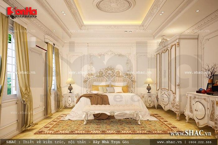 Không gian phòng ngủ sang trọng với thiết kế nội thất cao cấp, vương giả