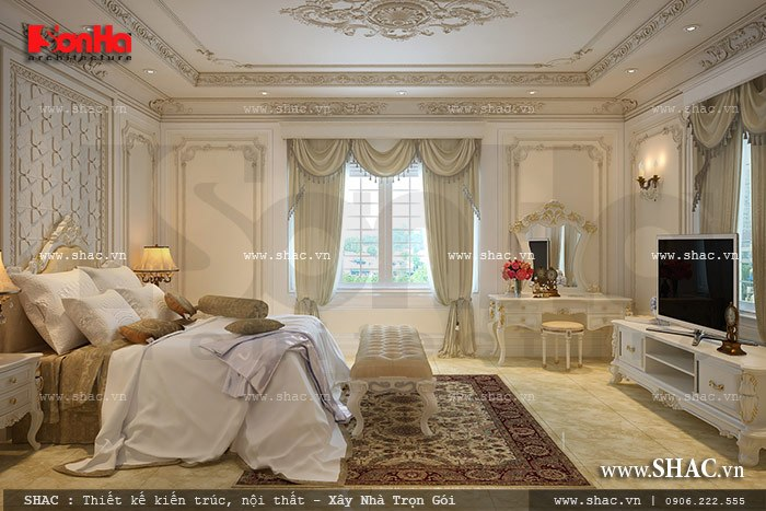 Thiết kế nội thất phòng ngủ biệt thự Pháp đẹp trong không gian thoáng đãng