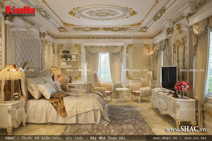 Mẫu thiết kế phòng ngủ biệt thự tuyệt đẹp mang phong cách cổ điển đẳng cấp