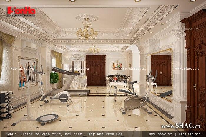 Thiết kế nội thất phòng tập gym được bố trí hợp lý trong khuôn viên của ngôi biệt thự cổ điển đẳng cấp
